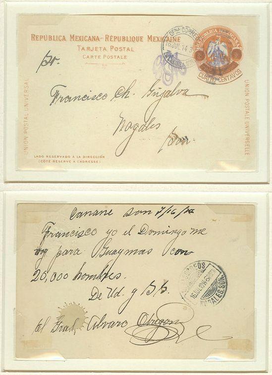 Postcard by Gen. Alvaro Obregon  1914