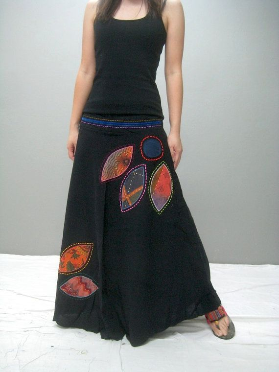 Gypsy skirt 264.8 by thaitee on Etsy, $45.00 love the reverse applique effect, heightened by the bold stitching