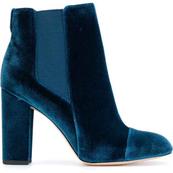 Sam Edelman heeled Chelsea boots ($216) ❤ liked on Polyvore featuring shoes, boots, blue, beatle boots, blue shoes, round cap, blue chelsea boots and blue boots