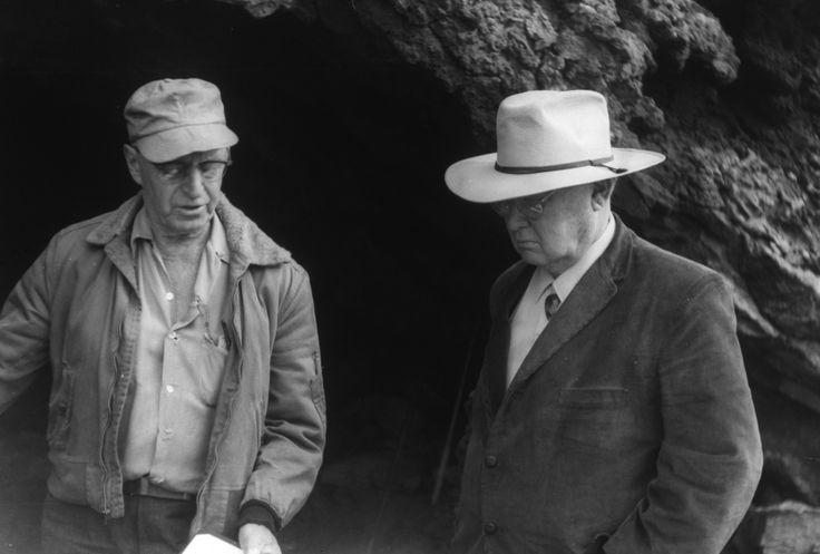 Erle Stanley Gardner with anthropologist Luther Cressman at Fort Rock Cave, Oregon, 1966.