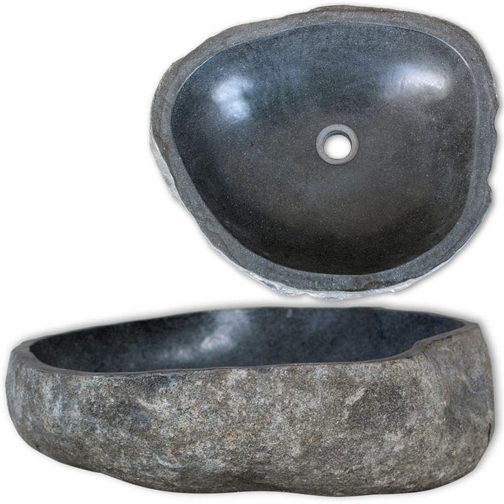 Oval Natural River Stone Bathroom Basin Sink 40cm | Buy Bathroom Basins