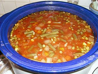 Crockpot Vegetable Soup/I added ground beef/celery and carrots. You can also add pasta. Great with grilled cheese sandwiches!