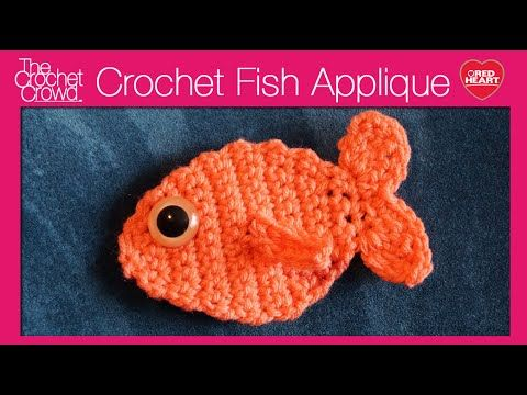 Crochet Fish Applique Tutorial. Learn how to make a cute little fish that even has its own 3D fin. It's part of the Cat Paws Christmas Stocking. Get the writ...