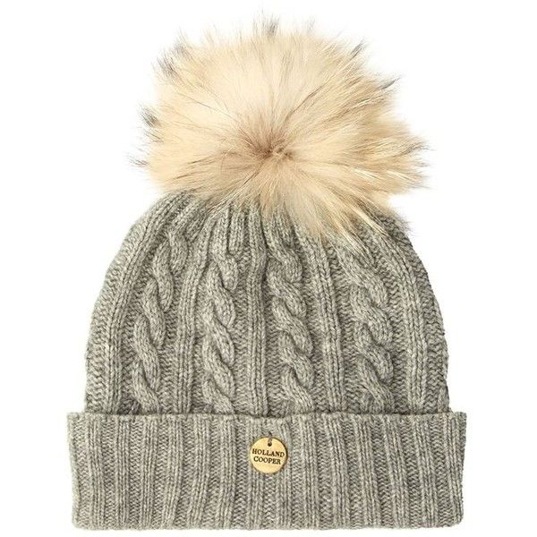 Holland Cooper Cable Knit Bobble Hat ($145) ❤ liked on Polyvore featuring accessories, hats, beanie, fur beanie hat, bobble beanie, bobble hat, cold weather hats and bobble beanie hat