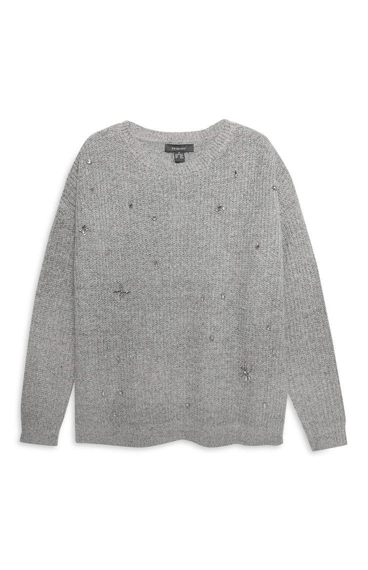 Grey Embellished Jumper