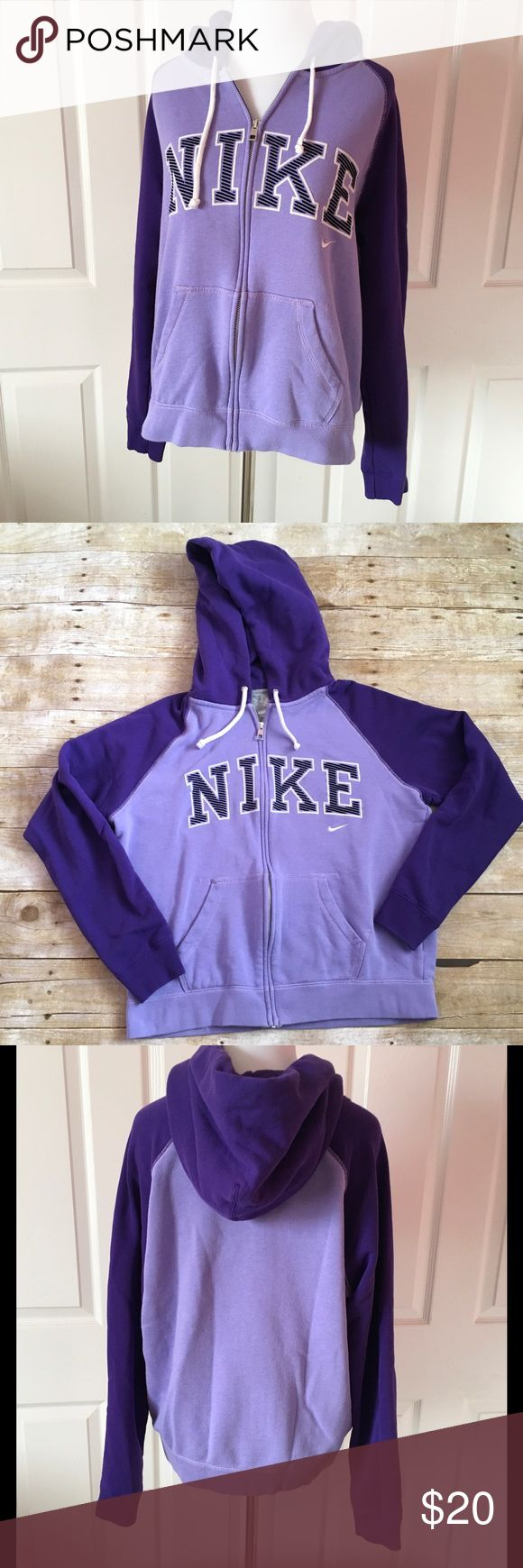 "Nike purple zip up hoodie ❤️Condition: good used ❤️Brand: Nike ❤️Size: women's large ❤️Materials: 80% cotton/20% polyester ❤️Measurements: --laying flat--      Waist 19""      Bust 21""      Sleeve length 20"" armpit to leave hem      Total length 22"" ❤️Notes: 💕💕Bundle and save!!!!💕💕 💕💕All reasonable offers are considered!!!!!💕💕 Nike Tops Sweatshirts & Hoodies"