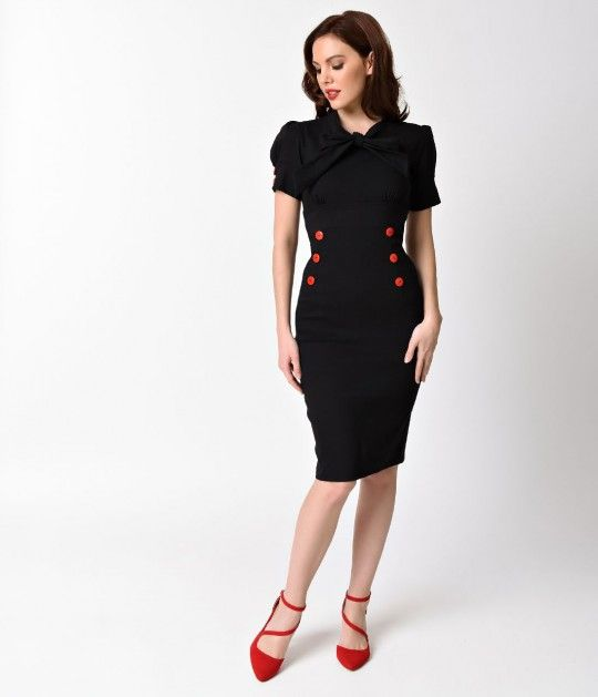 Its a knockout, darling! This ravishing retro wiggle dress is a fabulous tribute to classic dress styles. Crafted in a curve hugging stretch blend, this marvelous frock is charming with short puff sleeves and high collared self tie bow embellishment. The