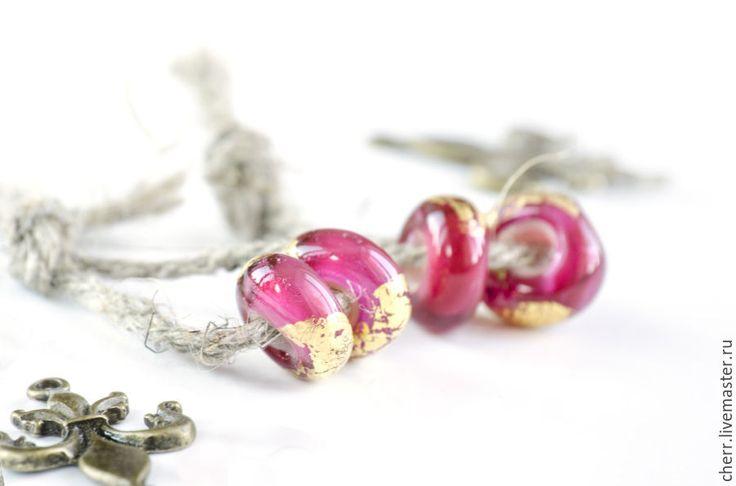 Купить Бруснично-розовый - брусничный, красный, розовый, золотой, зололо, золотистый, бусины, пандора, лэмпворк
