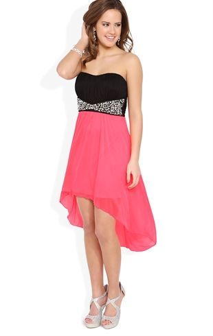 Pink Strapless High Low Prom Dress with Ruched Bodice and Stone Waist - Deb - 1000058103