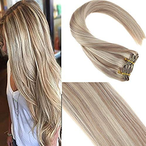New Sunny 24inch Full Head Clip Remy Hair Extensions Dark Ash Blonde Highlighted Bleach Blonde Dip Dye Clip Extensions Double Weft 7 piece 120G online shopping – Ptophitsoffer