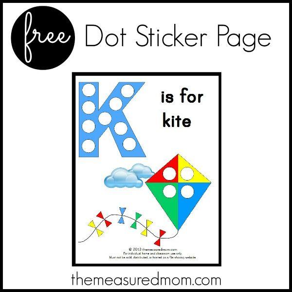 free dot sticker page letter K the measured mom Letter K Printable: K is for Kite