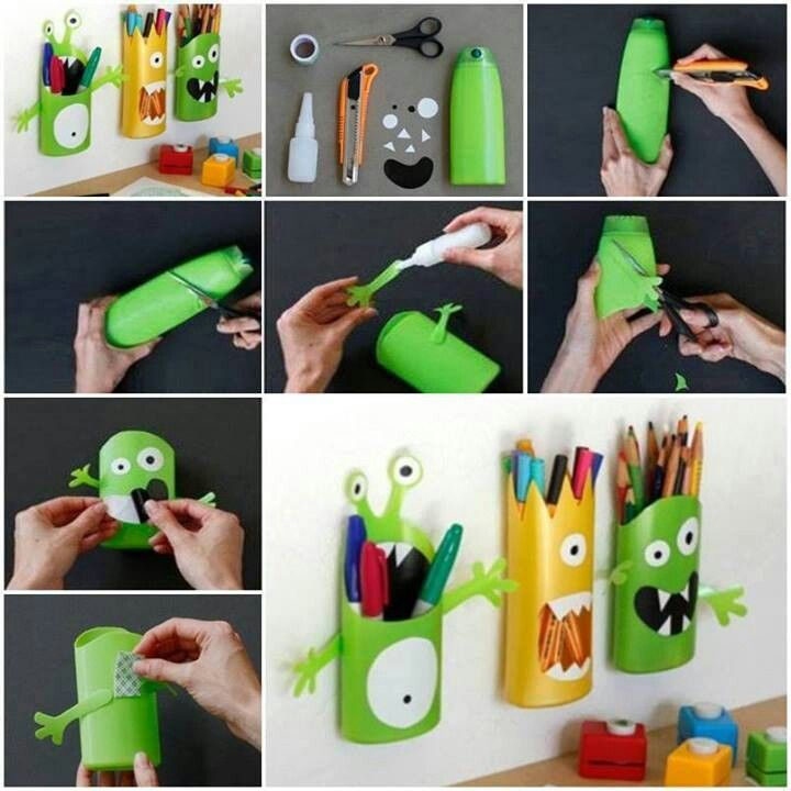 #creativite #power patate  petit monstre bouteille shampoing