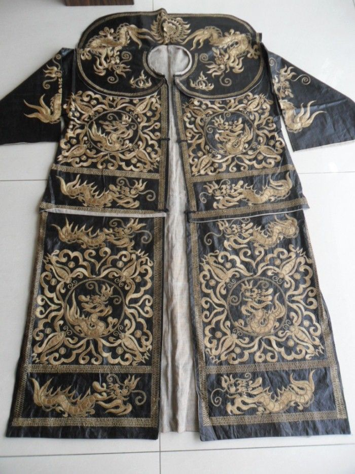 Chinese Miao People's Old Huge hand embroidery Ceremony King Costume long robe