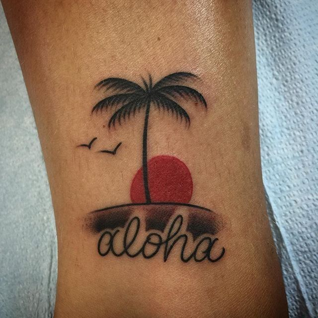 Photo of Mid-Pacific Tattoo - Lahaina, HI, United States. Simple Palm Tree Sunset Aloha by Jared