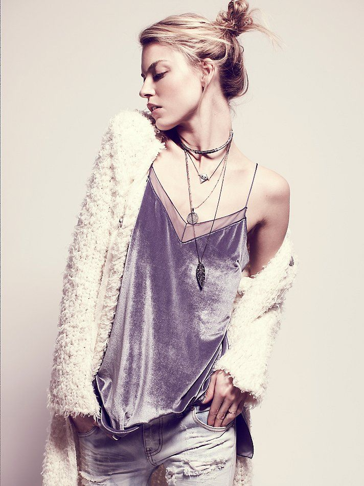 So 90's love it...Free People Velvet Solid Tank at Free People Clothing Boutique
