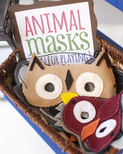 Fun animal masks at a Woodland Party.  See more party ideas at CatchMyParty.com.  #woodlandpartyideas