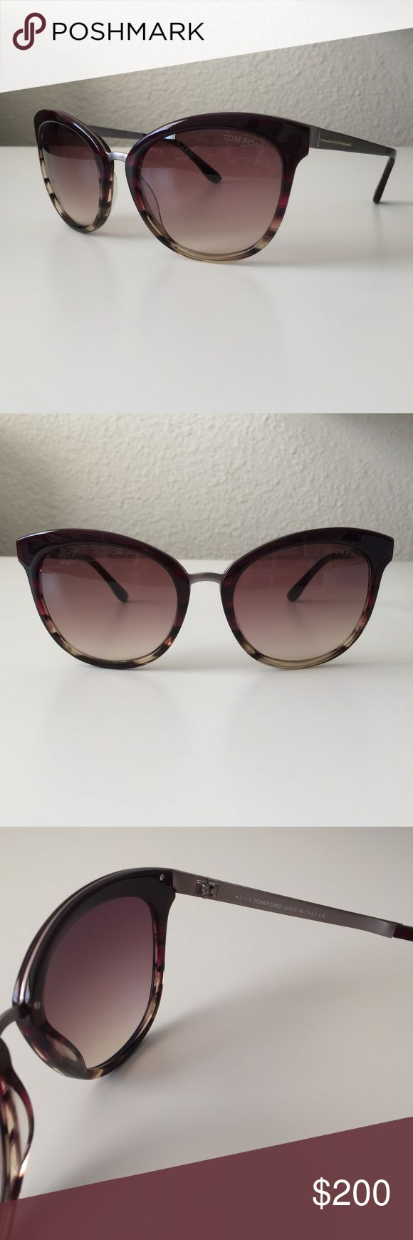Tom Ford Emma Cat Eye Sunglasses NWT Tom Ford Emma Cat Eye Sunglasses.  Bordeaux frame with Brown gradient lens.   Brand new comes with cleaning cloth and case as pictured.  These are still selling full price at Tom Ford & Nordstrom. Clean, simplified styling enhances the understated glamour of Italian-crafted sunglasses with scratch-resistant lenses. 56mm lens width; 19mm bridge width; 130mm temple length. 100% UV protection. CR-39 lenses. Acetate/metal. By Tom Ford; made in Italy. Tom Ford…