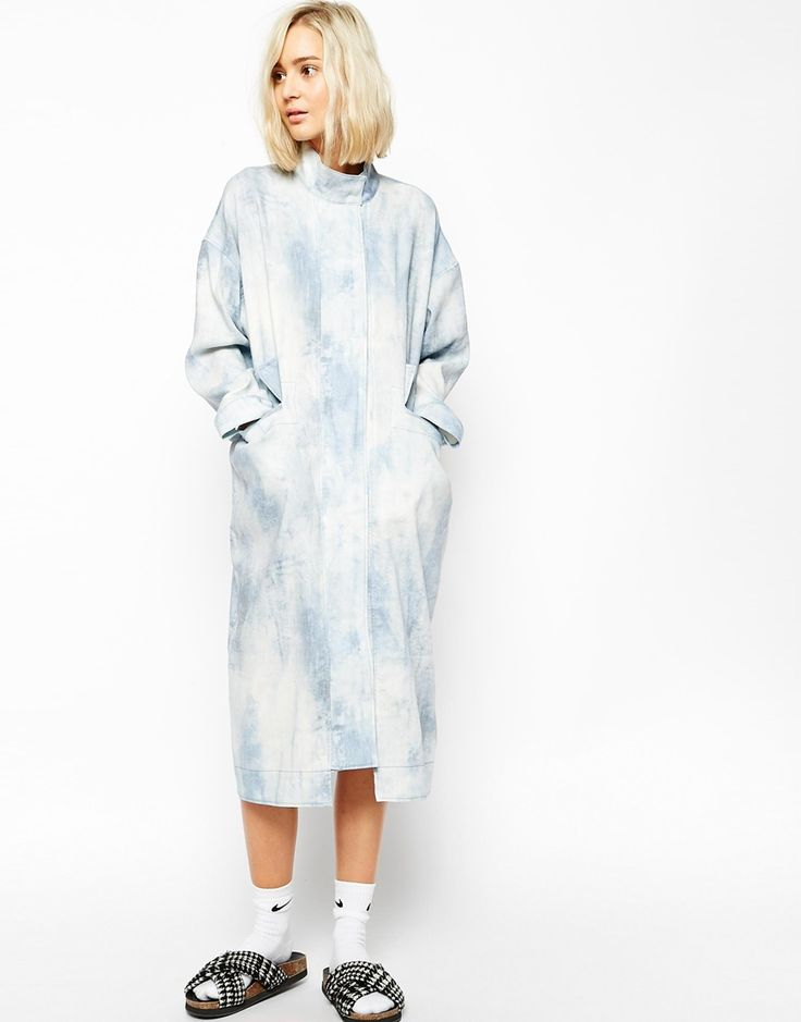 Image 1 of ASOS WHITE Dress Coat In Washed Linen
