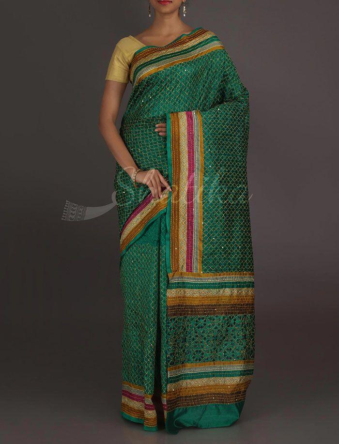 Mehar Criss Cross Criss Kantha Work Pure Silk Saree
