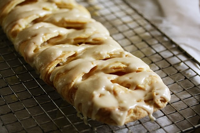 cream cheese danish... soo soo yummy!!! i used a can of cresent rolls. do not seperate them just roll them out flat so they are one big rectangle on parchment ppr. then follow this recipe! better make a double batch... i'm warning you...