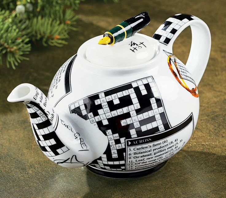 Crosswords Personal Teapot ~ I could drink tea from this pot while I work the crosswords puzzle.