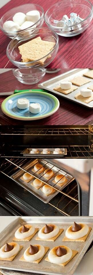 Smores in the oven.  Yummy and easy... Great for groups... I added a caramel drizzle to mine :) for quick version 15 sec in microwave, makes 2. Or broil a cookie tray full for 1-3 min. Watch closely. Top with chocolate after. Also nice way to toast marshmellows!