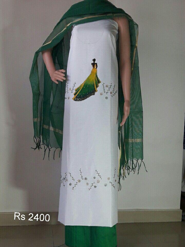 Cotton silk salwar kurta material kurta 2.5 metres salwar 2.25 metres with jute netted dupatta all hand painted lady in the waiting design