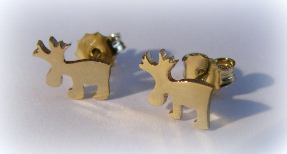 Gold Reindeer earrings by Minicsiga on Etsy