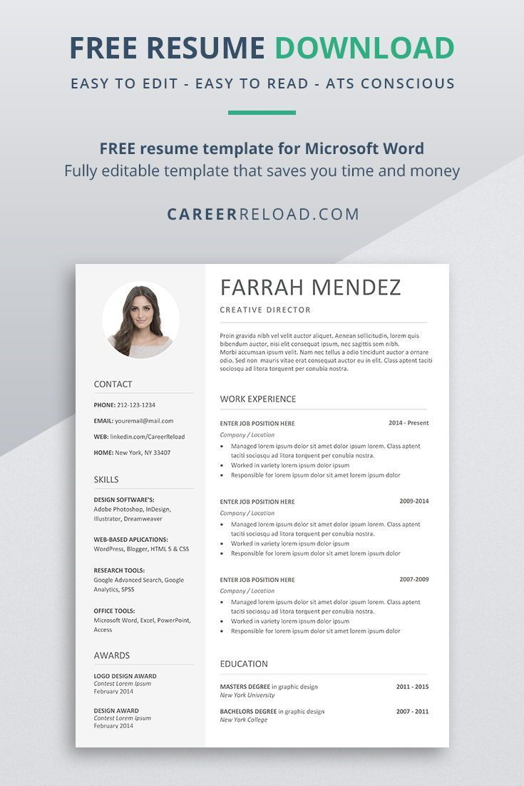 Free Resume Template Download For Word Career Reload In 2020 Resume Template Downloadable Resume Template Resume Template Free