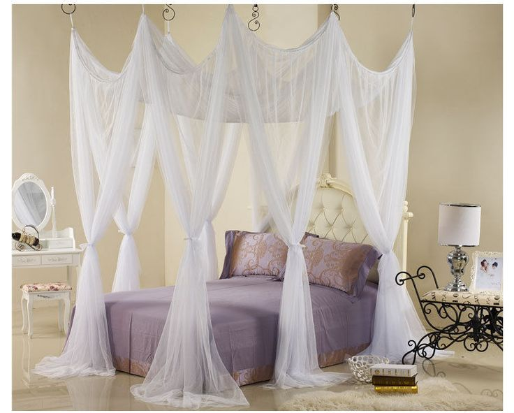 S HOOK BED CANOPY MOSQUITO NET European Style Bed Netting Luxury Romantic Canopy