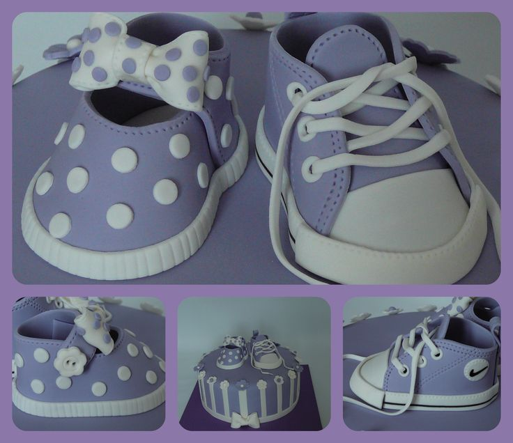 Girly baby shoe and Converse - A baby shower cake for shoe lovers! I made the cake in lilac because it will be the baby's room color. The decorations are fondant, all edible. The cake was red velvet with creamcheese filling covered with fondant. I love to make baby shoes!