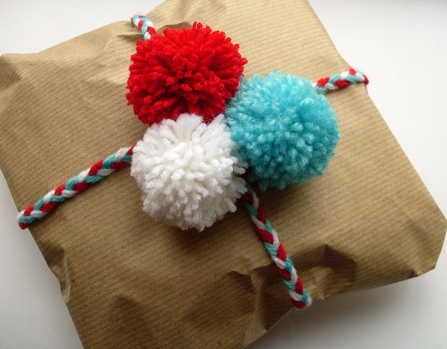 yarn as part of Christmas wrapping