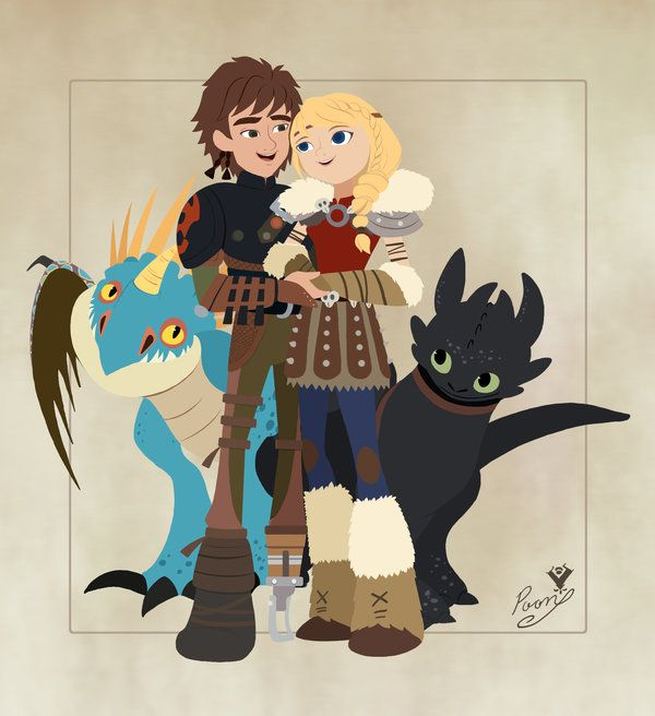 HTTYD II_Hiccup and Astrid_Toothless and Stormfly by Vallylight.deviantart.com on @DeviantArt