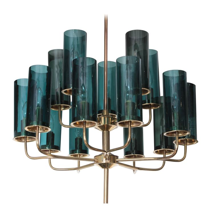 Brass & Blue Glass Tube Chandelier by Hans Agne Jakobsson | From a unique collection of antique and modern chandeliers and pendants  at http://www.1stdibs.com/furniture/lighting/chandeliers-pendant-lights/