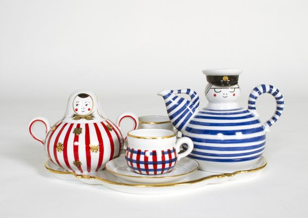 Summer set ~ A tea set for summery tea times in good company. Designed by COMPANY (Aamu Song & Johan Olin) in Russia. Manufactured in Verbilkie, Russia by Tatiana Nikulina (painting), et. al. Material: Porcelain, paint, gold.