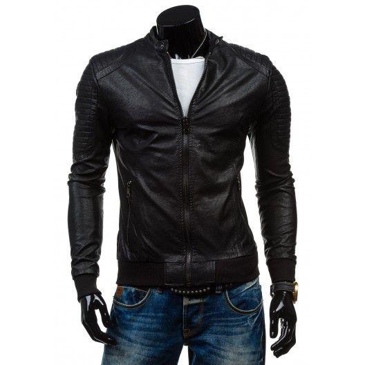 Kožené bundy v čiernej farbe pre mužov - fashionday.eu