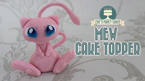 Mew cake topper : Pokemon gum paste or polymer clay model