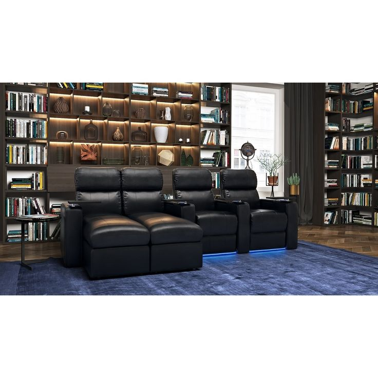 Octane Seating Turbo XL700 Power Leather Theater Seating with Reclining Chaise, Black, Size Oversized