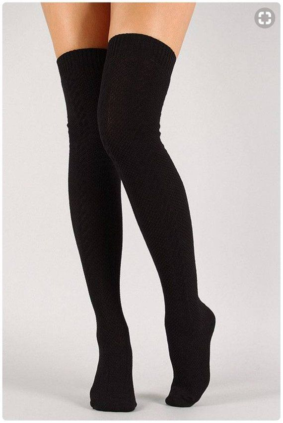 725947f50ec Thigh High Socks Black Sweater Socks Women s Long Over