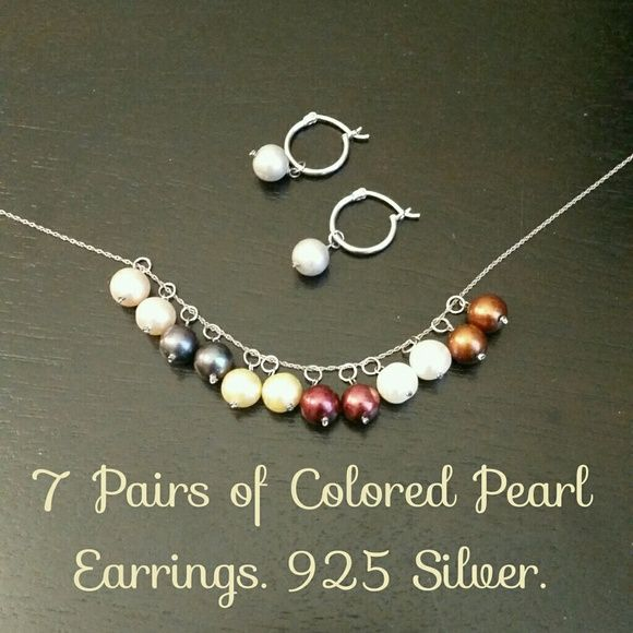NWOT Interchangeable Pearl Earrings, 925 What a brilliant idea! Change out the colored pearls to match every outfit.  925 Silver hoops. 7 pairs, NWOT.   White gold chain for sale in another listing. Jewelry Earrings