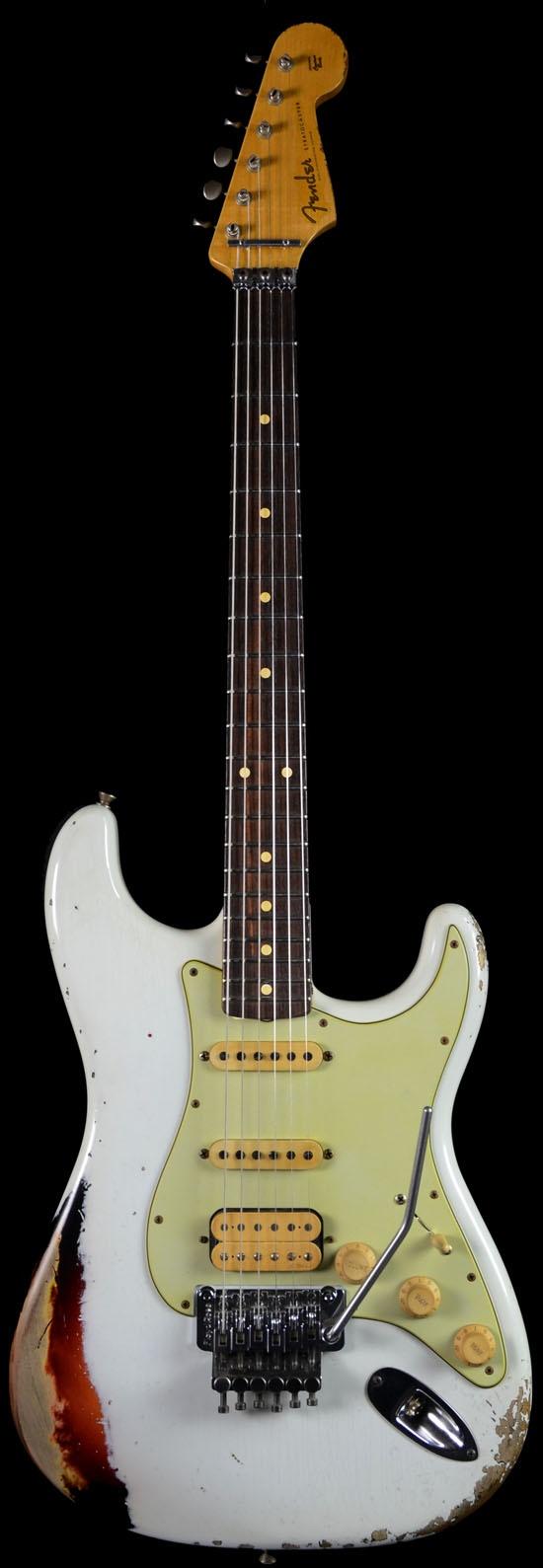 Wild West Guitars : Fender 1960 White Lightning Strat Relic Oly White Over 3 Tone Sunburst Floyd Rose.