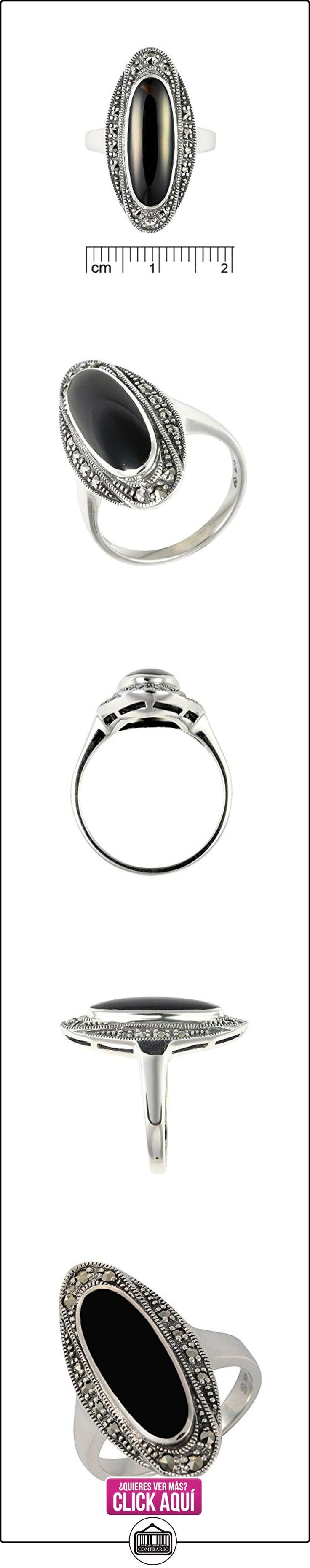 Esse Marcasite Plata de ley ónice negro y marcasita Art Deco vestido tamaño de anillo–P  ✿ Joyas para mujer - Las mejores ofertas ✿ ▬► Ver oferta: https://comprar.io/goto/B01FTYTGLA