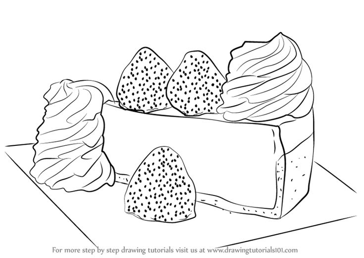 Learn How to Draw a Cheese Cake (Cakes) Step by Step : Drawing Tutorials