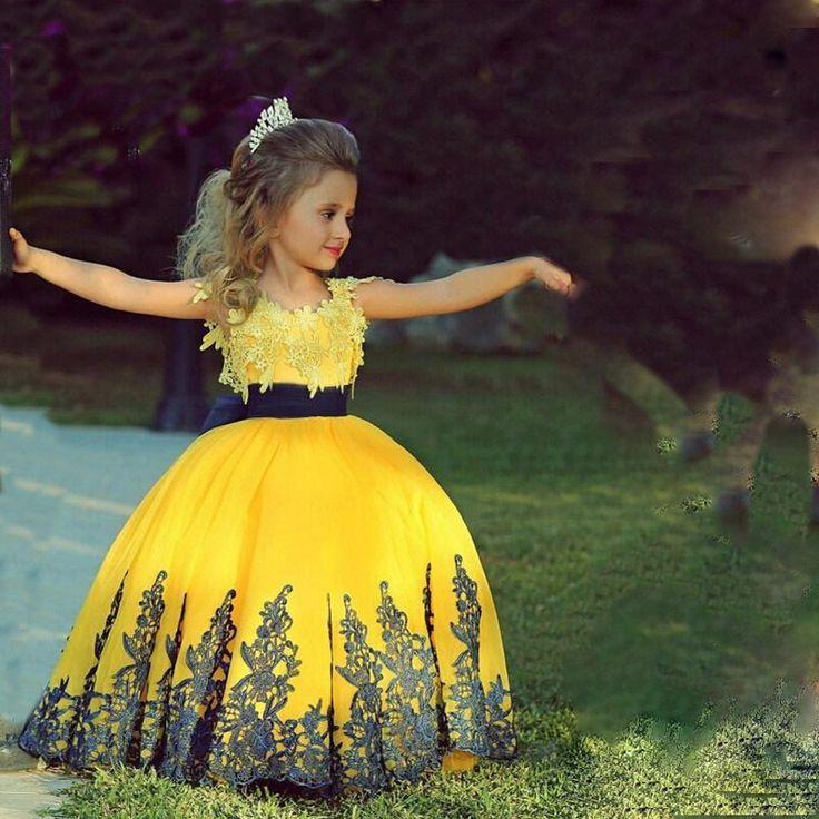 New Arrival Little Girl Ball Gown Scoop Appliqued Glitz Pageant Floor Length Flower Girls Dresses For Children Prom Gown