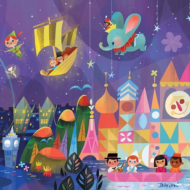 #tbt  3/3 close up of the disney tokyo celebration hotel mural #peterpan #tinkerbell #dumbo #itsasmallworld #disneytokyo #mural #joeychouart #joeychou