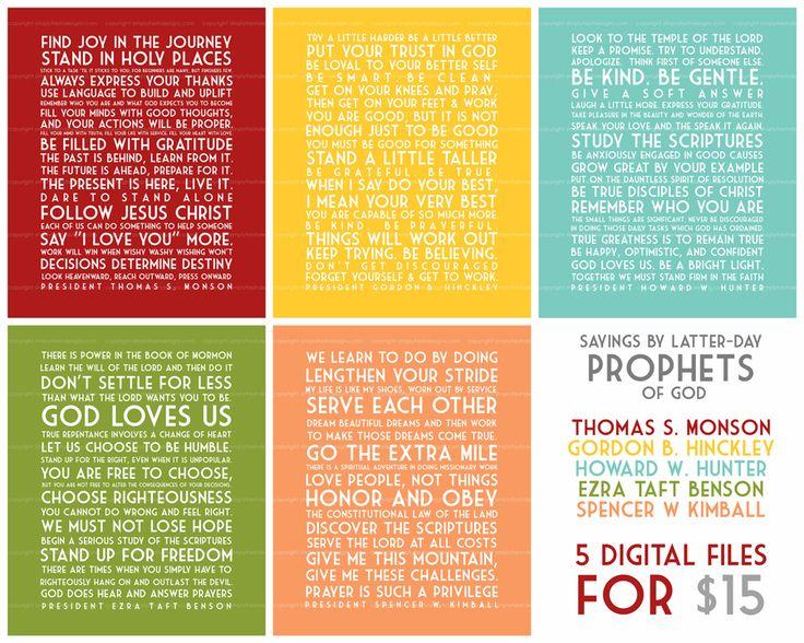 Words from the Latter-day Prophets - Subway Art.  Thomas S. Monson, Gordon B. Hinckley, Howard W. Hunter, Ezra Taft Benson, Spencer W. Kimball