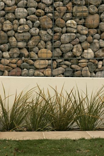 gabion and concrete wall