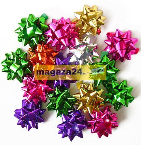 San Yıldız Paket Süsü 4,5 cm Metalik Karışık 100 Adet, Magaza24