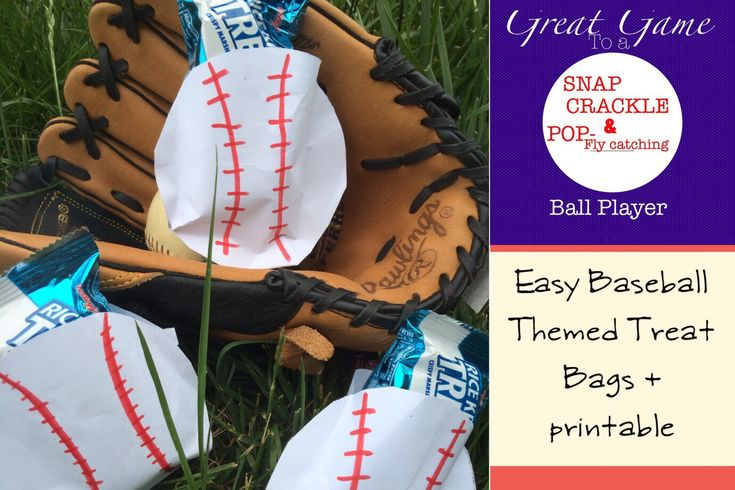 "Easy Baseball Treat Bags for ""Snap, Crackle and Pop-fly-catching"" Ball Players + Free Printable - Clever Housewife"
