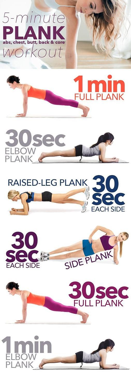 Take 5 minutes out of your day to complete this plank workout. Quick, easy, done.